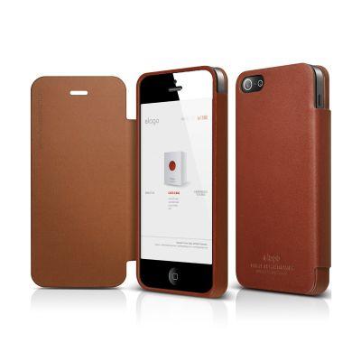 Elago - S4 Handmade Genuine Leather Folder case for iPhone 4/4s - Brown